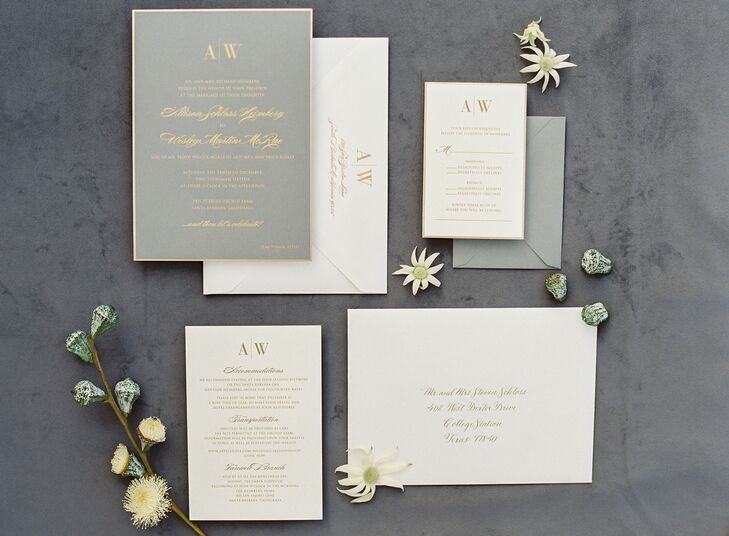 Elegant Grey and Yellow Invitations