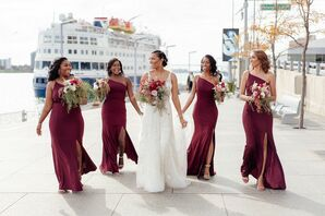 Bridesmaids at the Waterview Loft at Port Detroit in Detroit, Michigan