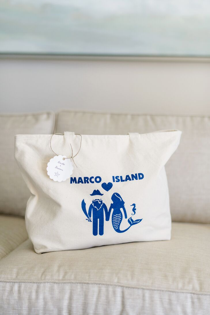 Nicole and Bren welcomed guests to their wedding weekend with beach-themed welcome bags that ensured they were well-equipped for a fun-filled stint on Marco Island, Florida. The bags were personalized with a mermaid and bearded pirate and were filled with the couple's favorite snacks, mini bottles of prosecco, sunglasses and a few other beach essentials.