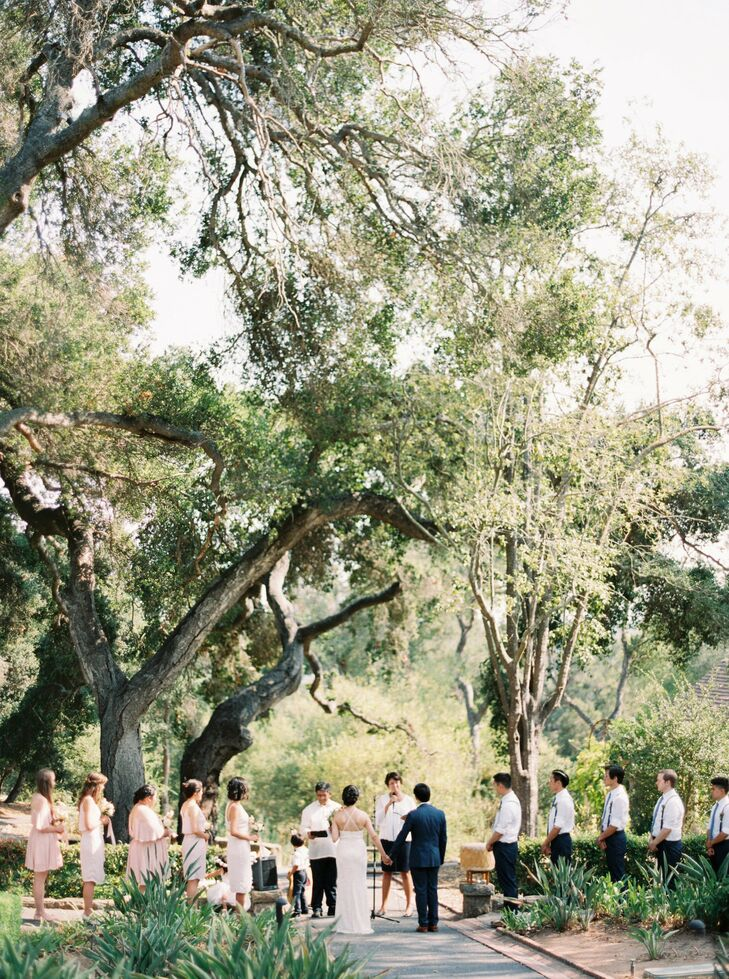 Alison and Daniel exchanged vows in the rose garden at Westmont College in Santa Barbara, California. Afterward, they hosted 400 guests on one of the university's spacious lawns.