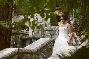 White Strapless A-Line Wedding Dress