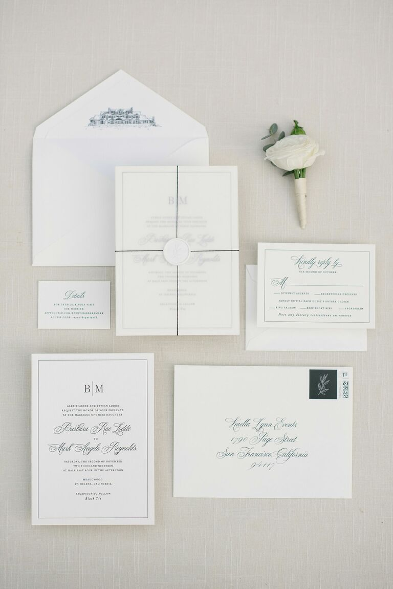 Classic White Wedding Invitation with Black Text