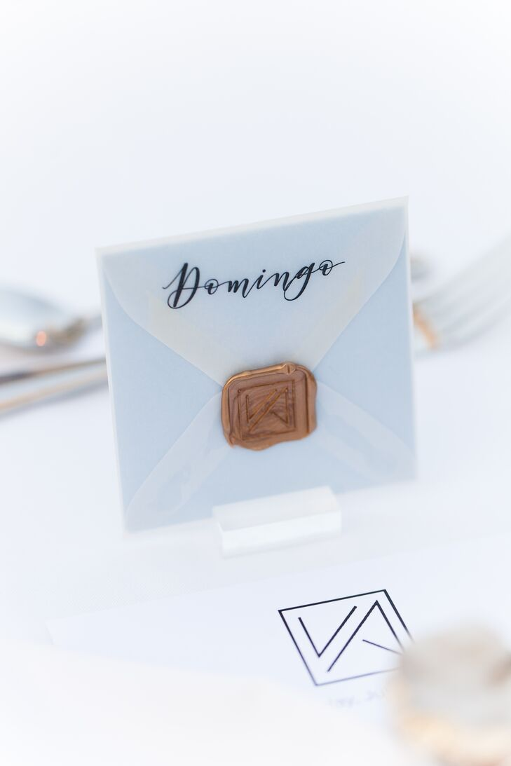 Modern Calligraphy and Wax Seal Place Card
