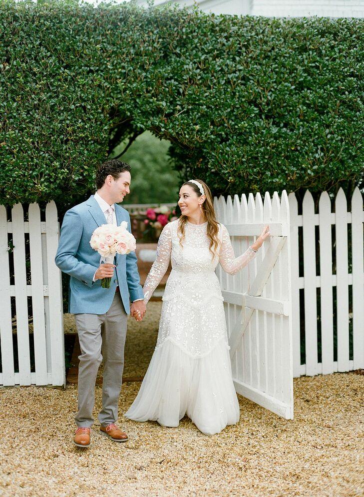 Bride and Groom Walking During Backyard Microwedding in Potomac, Maryland