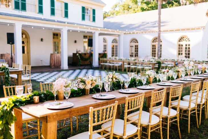Gold Chiavari Chairs at Long Dinner Table