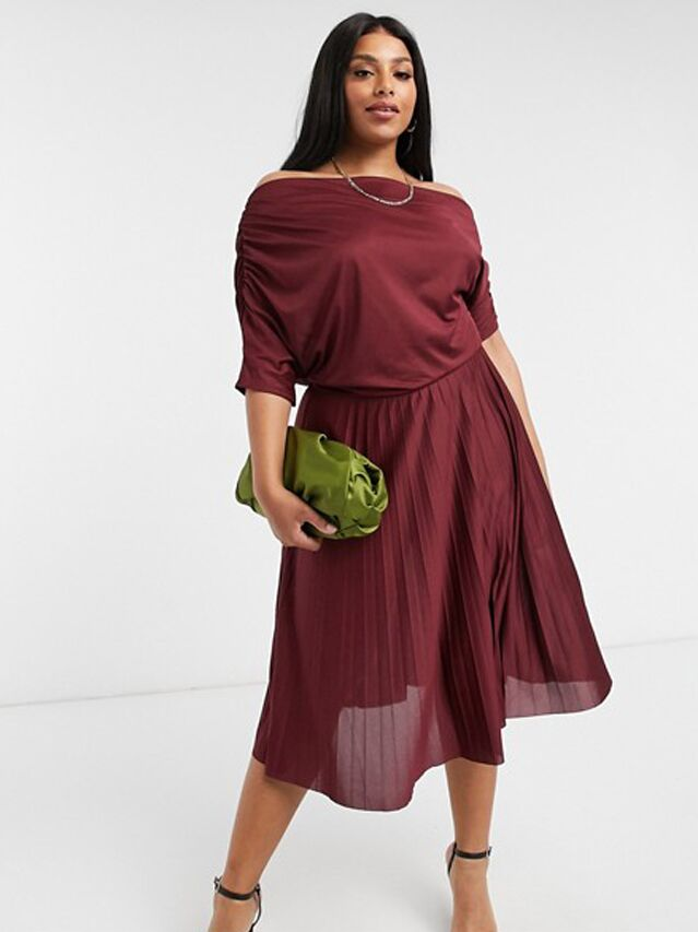 Burgundy plus size midi dress with draped bodice and pleated skirt