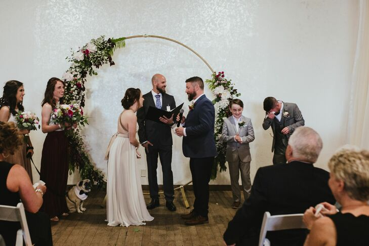 Modern Indoor Ceremony with Circular Wedding Arch