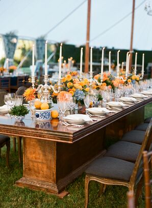 Vintage Dining Table with Orange and Blue Accents
