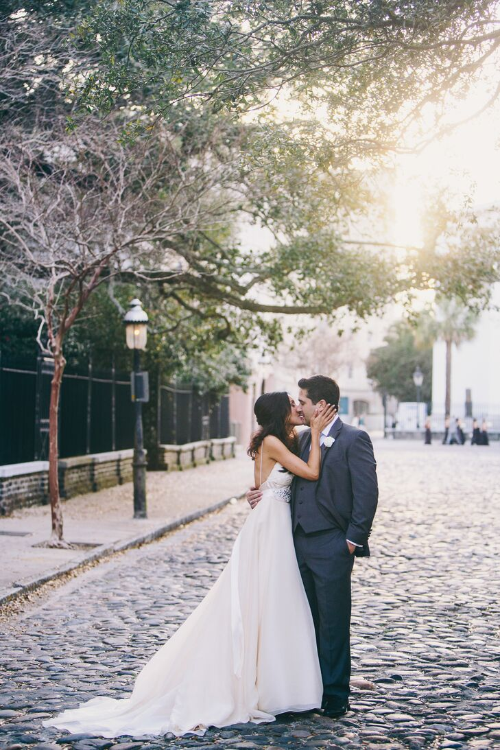 Christina wore a gorgeous blush-and-champagne wedding dress with thin straps and a low back.