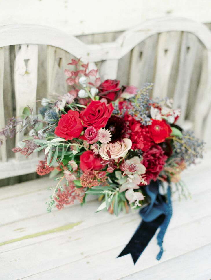 Wintry Red Bouquet for Wedding at Terrain at Styers in Glen Mills, Pennsylvania