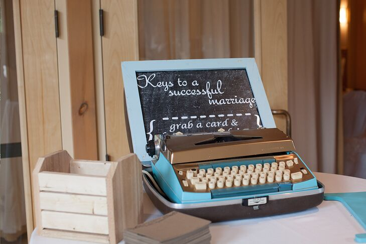 Playing off the wedding's vintage theme, Melissa and Dustin decided to ditch the traditional guest book for something a little more fun -- and retro. They set up a vintage typewriter on the guest book table and asked their guests to type their well wishes and advice onto personalized notecards.