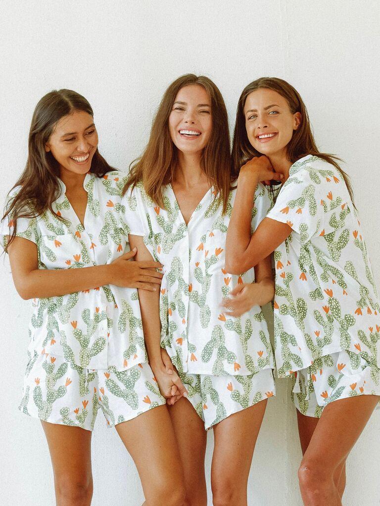 Cactus bridesmaid pajama sets