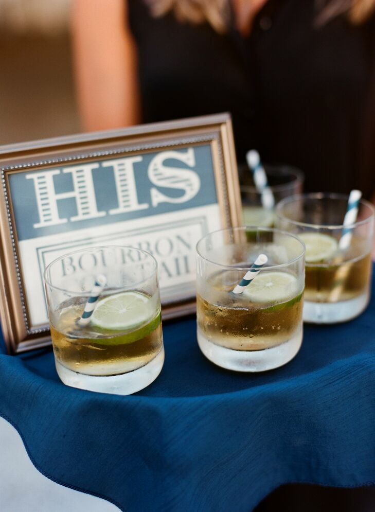 His and hers drinks were passed out to guests during cocktail hour. Bourbon cocktails with fresh slices of lime and navy striped straws were Cal's drink of choice.