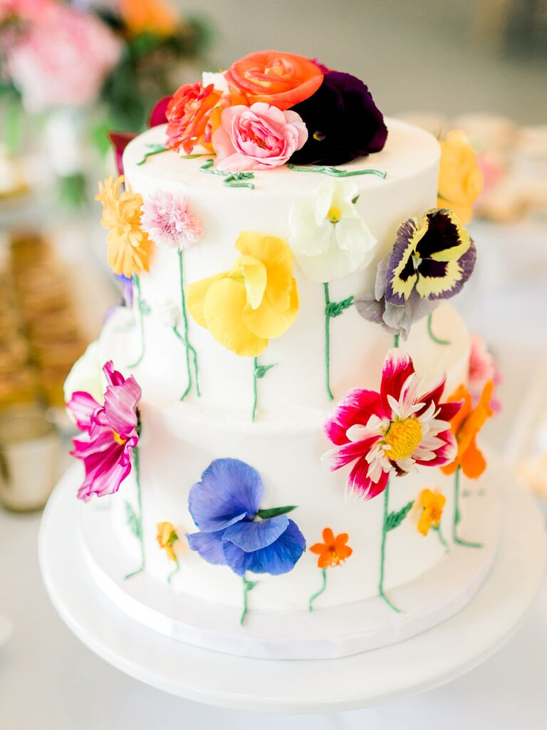Wedding cake with colorul flowers