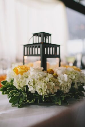 Hydrangea and Rose-Wreathed Lantern Centerpieces