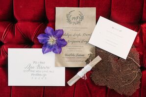 Neutral Leather Wedding Invitations With Natural Monogram
