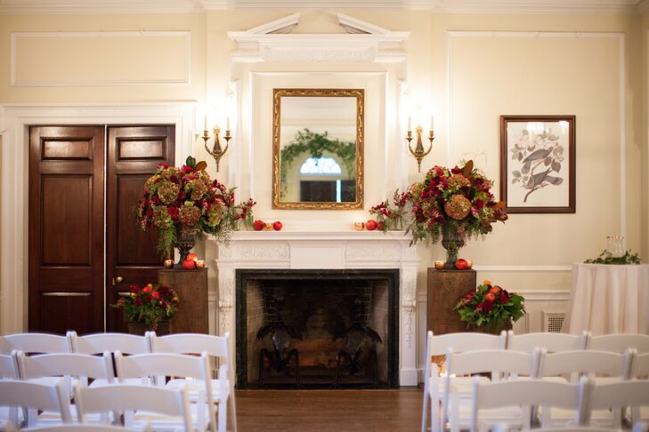 Intimate Autumnal Fireplace Ceremony Backdrop