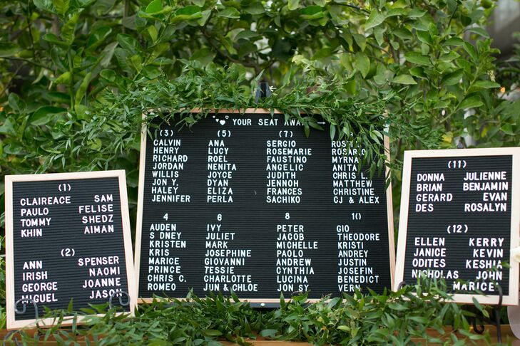 Message Board Seating Chart Sign