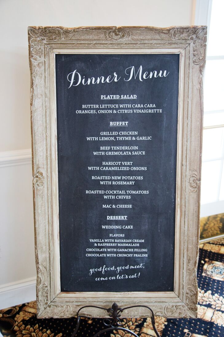 A buffet-style dinner was served in the pavilion at Trump Winery. Bernadette created the chalkboard menu herself!