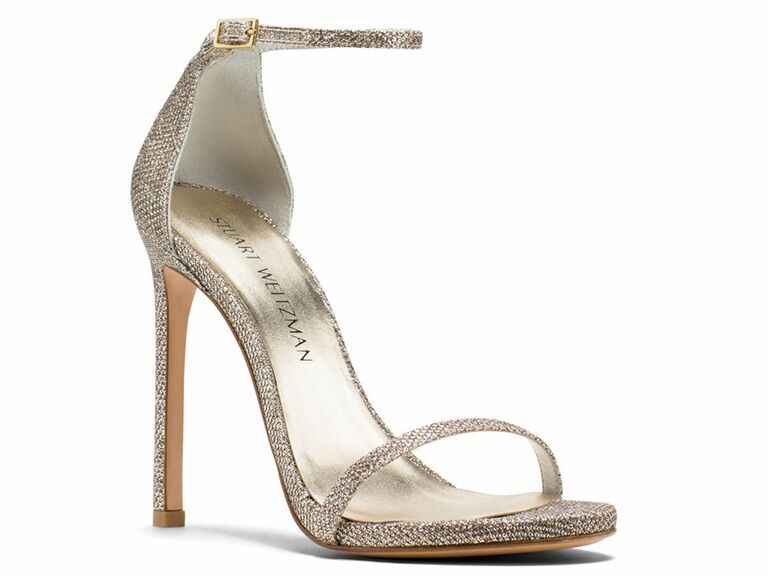 stuart weitzman metallic wedding shoe