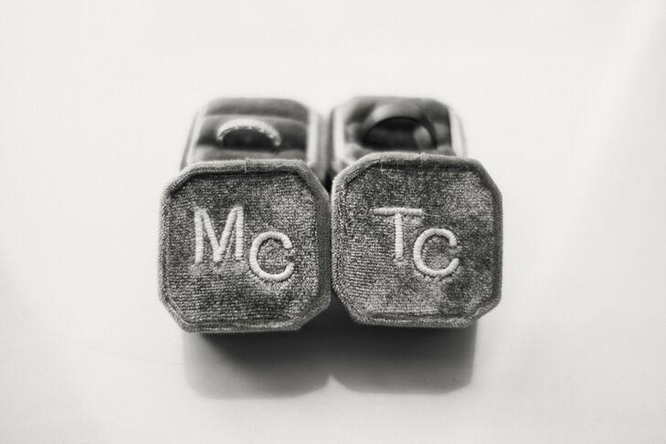 Personalized Gray Velvet Ring Boxes