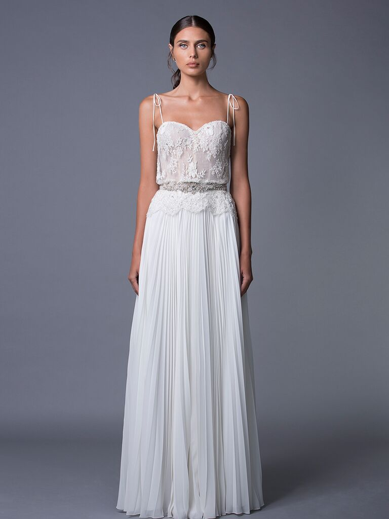 Lihi Hod 'Daria' wedding dress with lace dice and pleated skirt for Fall 2017