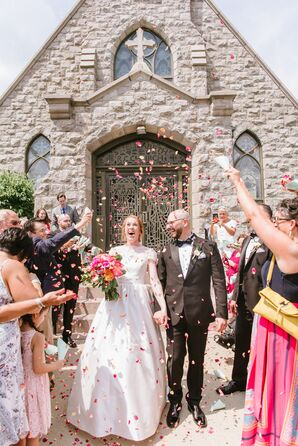 Whimsical Church Recessional with Flower Petal Toss