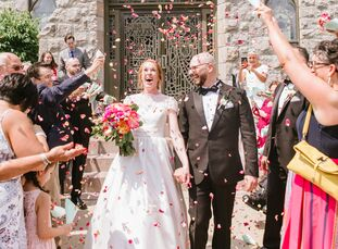 Hilary Strauch and Jonathon LaCarrubba planned a classic celebration with plenty of fun touches. The Catholic ceremony took place at Hilary's childhoo