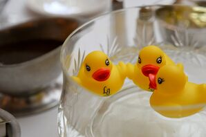 Whimsical Monogrammed Rubber Duckie Centerpieces