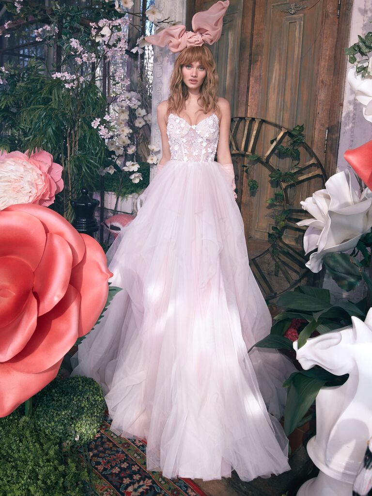 GALA by Galia Lahav Spring 2020 Bridal Collection A-line wedding dress with fitted lace bodice
