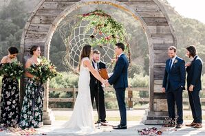 Bohemian Ceremony Setup with Wood Arch and Dream Catcher Backdrop