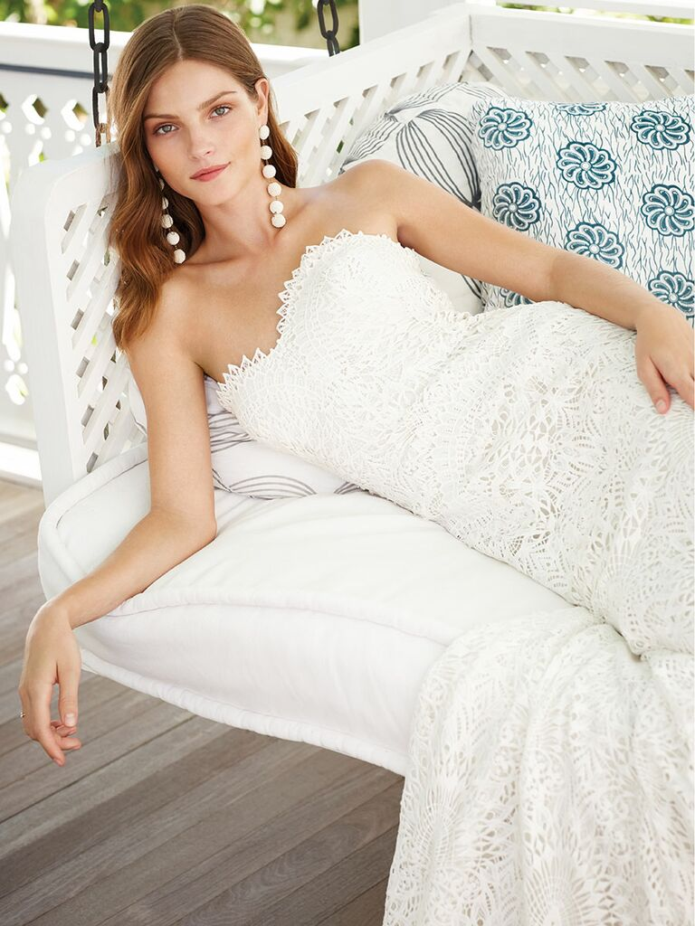 Watters strapless wedding dress with Rebecca De Ravenel earrings