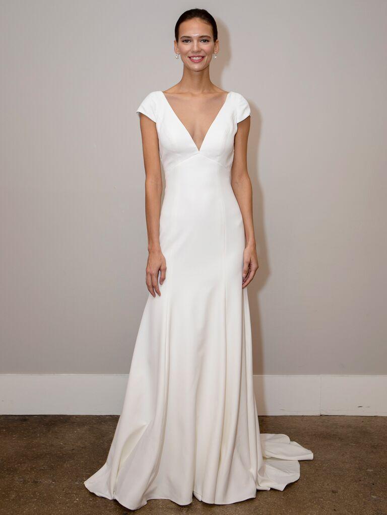 BHLDN Spring 2020 Bridal Collection V-neck sheath wedding dress with cap sleeves