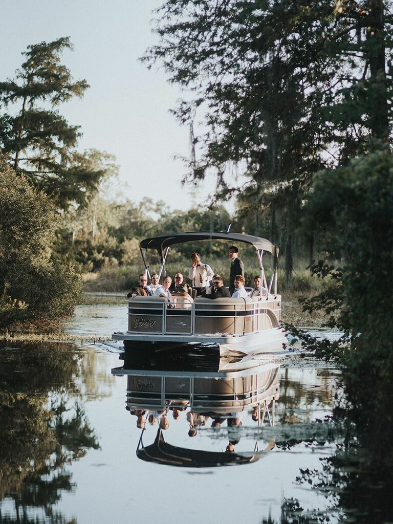 wedding party in boat in Louisiana