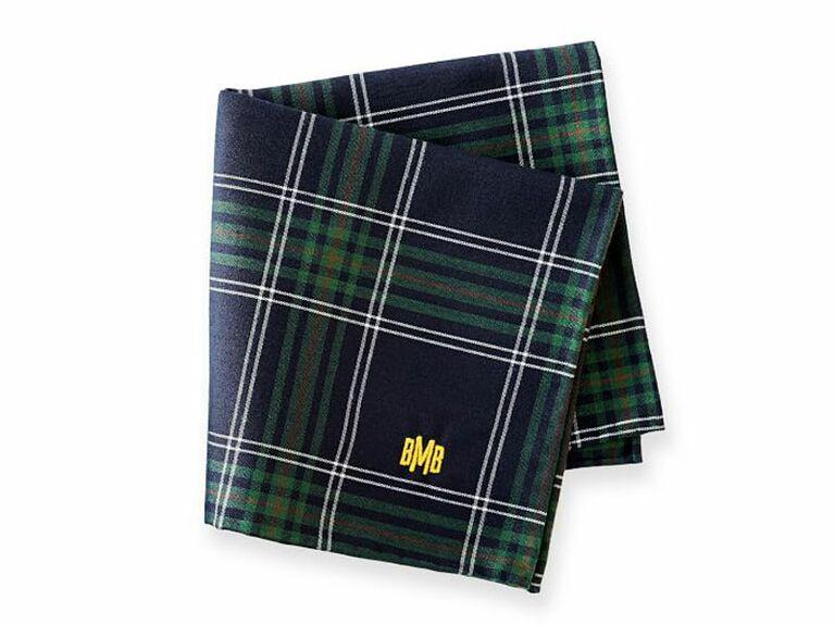Plaid monogrammed handkerchief