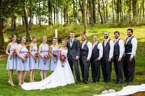 Short, Bluebird David's Bridal Bridesmaid Dresses