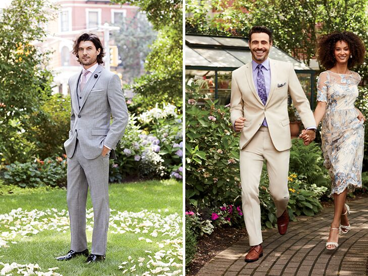 groom in light gray suit and groomsman in tan suit