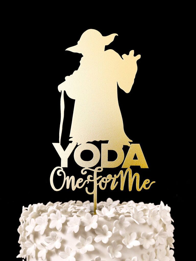 Yoda One for Me wedding cake topper