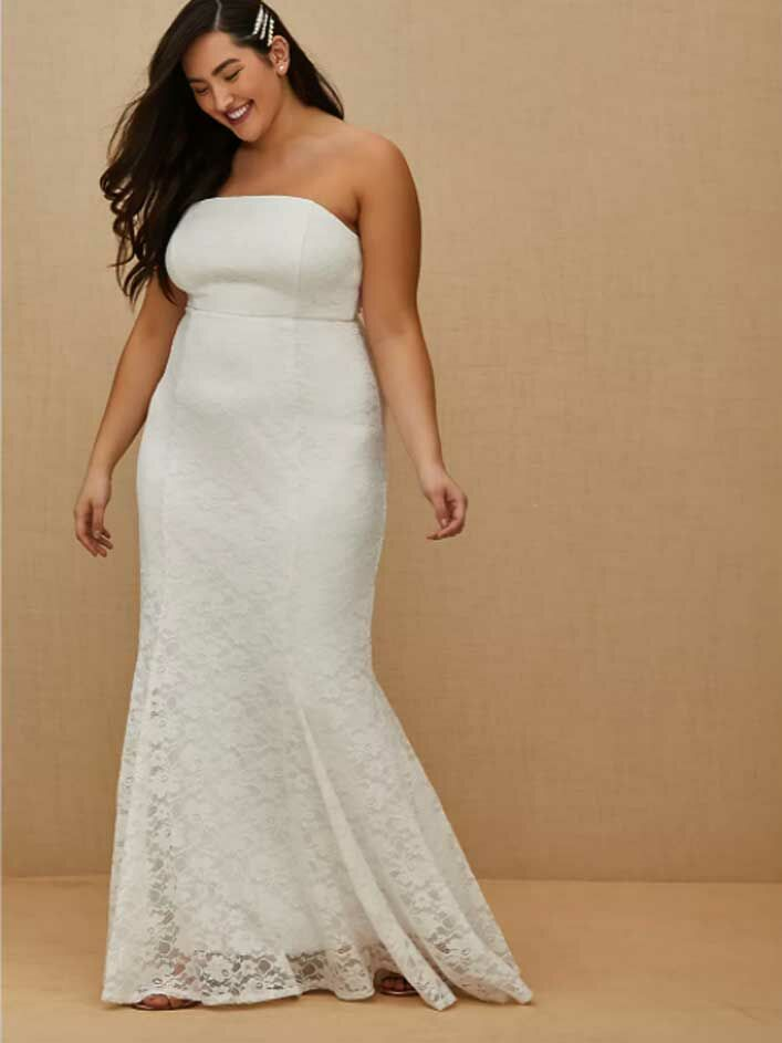 Simple strapless lace beach wedding dress