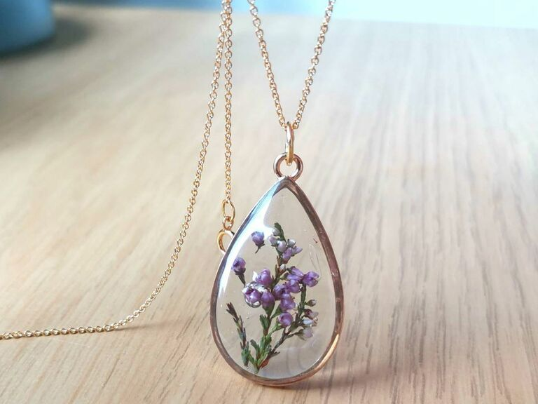 terrarium necklace lilac eighth anniversary flower