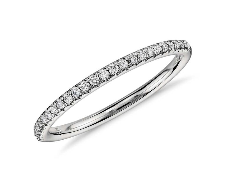Petite micropavé diamond ring in platinun