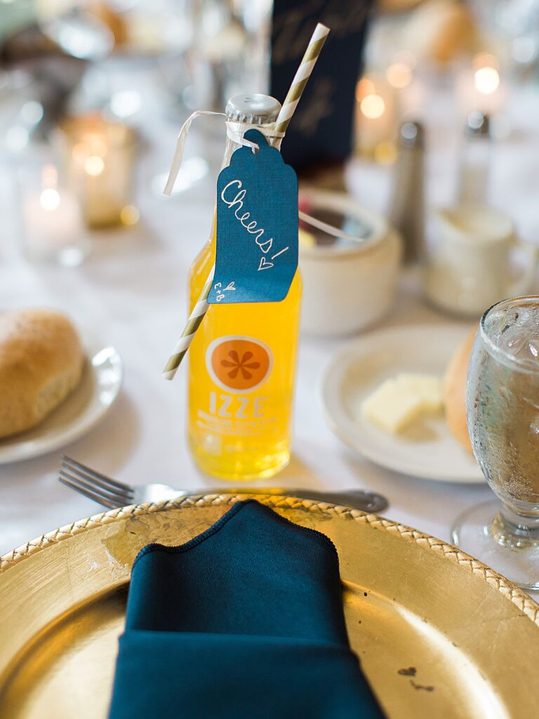 Fizzy soda wedding favor with a 'Cheers!' label