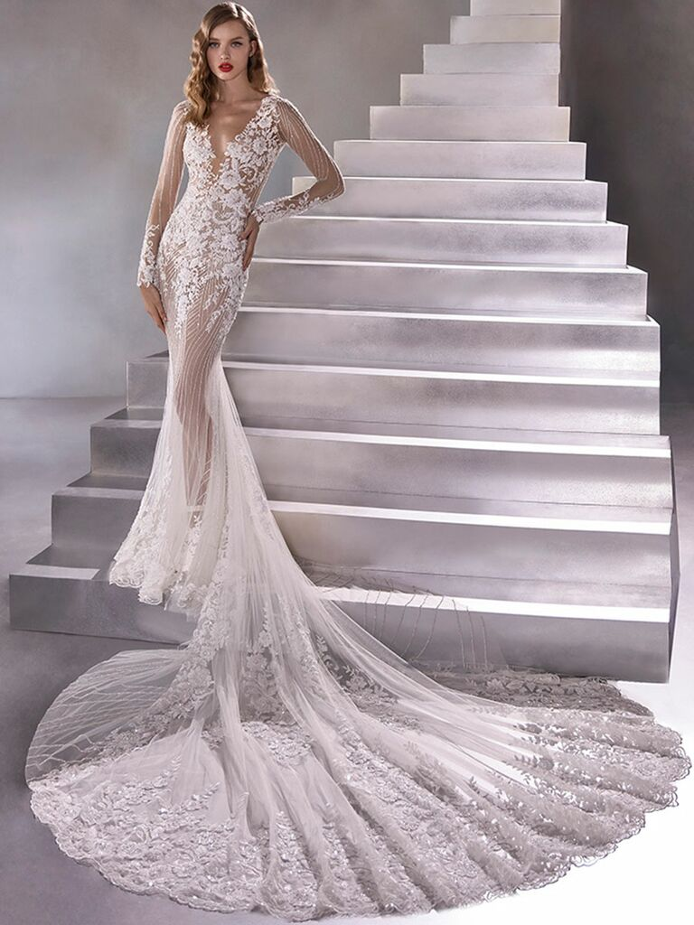 Atelier Provonias wedding dress long-sleeve sheer lace gown