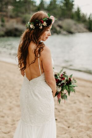Bohemian Bride with Formfitting Lace Dress and Flower Crown