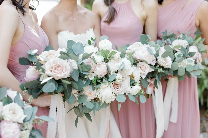 Rose-and-Eucalyptus Bouquets for Wedding at Summerour Studio in Atlanta, Georgia