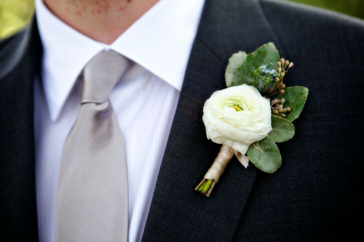 White Ranunculus Boutonniere