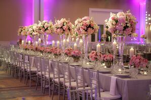 Tall Pink Reception Centerpieces