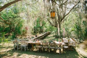 Casual Boho Wedding Reception Outside