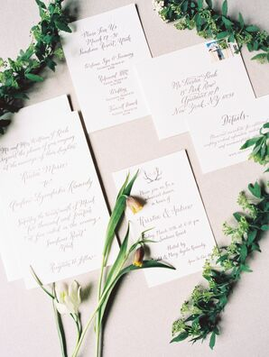 Classic Calligraphy Wedding Invitation With Antler Detail