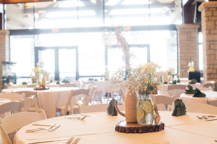 DIY Rustic Reception Table Centerpieces